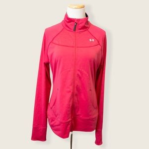 Under Armour Fuchsia Pink Semi Fitted Full Zip Track Jacket - Size Medium